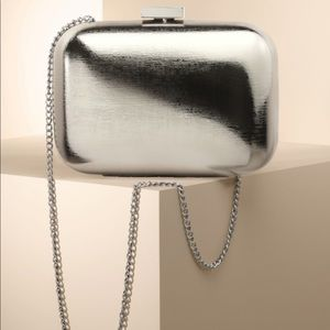 Talbots Crossbody Silver Hard Clutch Bag